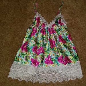 Victoria's Secret floral/lace babydoll gown top S